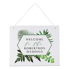 Medium Personalized Wooden Wedding Sign - Semi-Open Message White Greenery Collage