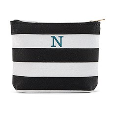 Bliss Striped Small Makeup Bag - Black & White
