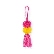 Small Fabric Pompom Tassel for Beach Tote Bag- Hot Pink and Yellow