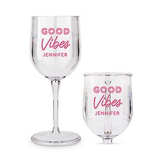 Personalized Portable Plastic Nesting Wine Glass – Good Vibes Print