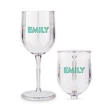 Personalized Portable Plastic Nesting Wine Glass - Line Monogram Print
