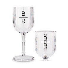 Personalized Portable Plastic Nesting Wine Glass – Stacked Monogram Print