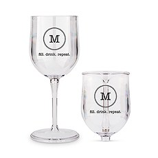 Personalized Portable Plastic Nesting Wine Glass – Circle Monogram Print