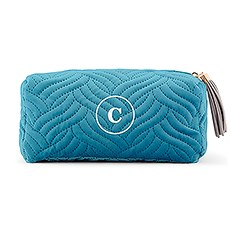 Personalized Velvet Quilted Makeup Bag for Women- Light Blue