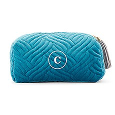 Quilted Velvet Travel Makeup Bag - Oasis Blue