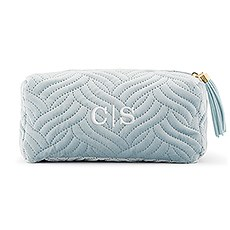 Small Personalized Velvet Quilted Makeup Bag for Women - Spa Blue