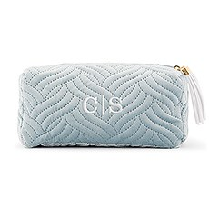 Personalized Velvet Quilted Makeup Bag for Women- Spa Blue