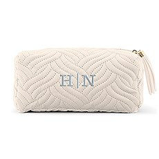 Small Personalized Velvet Quilted Makeup Bag for Women- Ivory Beige