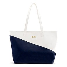 Personalized Color Block Faux Leather Tote Bag- Navy & White