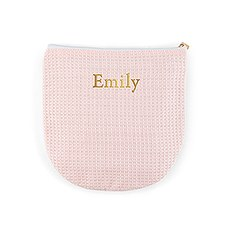 Personalized Small Cotton Waffle Makeup Bag- Blush Pink