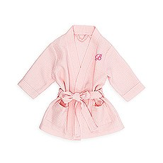Personalized Embroidered Baby Girl Waffle Robe with Pockets - Blush