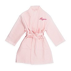 Personalized Embroidered Flower Girl Waffle Robe with Pockets for Her- Blush