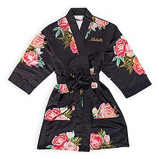 Women's Personalized Embroidered Floral Satin Robe with Pockets- Black Blissful Blooms
