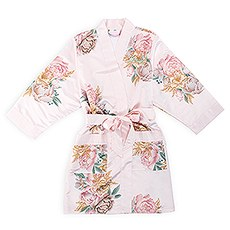 Premium Personalized Floral Silky Kimono Robe With Pockets - Blush Pink Blissful Blooms