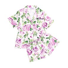 Women's Personalized Satin Pajama Sleepwear Set - Lavender Floral