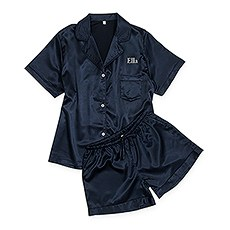 Women's Personalized Satin Pajama Sleepwear Set - Navy Blue