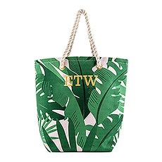 Personalized Monogrammed Cotton Canvas Beach Tote Bag- Tropical Leaf