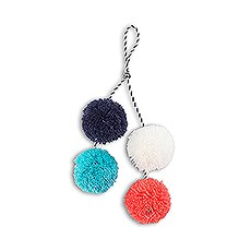Small Fabric Pompom Tassel for Beach Tote Bag- Multicolor