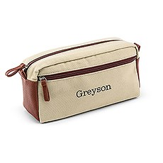 Personalized Men's Dual Compartment Travel Toiletry Bag - Light Brown Canvas