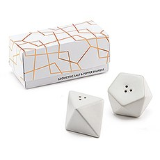 White Geometric Salt & Pepper Shaker Set