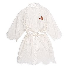 Personalized Embroidered Lace Bridal Wedding Robe- White