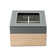 Wood and Faux Leather Keepsake Box With Glass Lid - Modern Initials