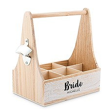 Personalized Wooden Bottle Caddy with Opener - Bride