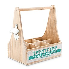 "Personalized Wooden Bottle Caddy with Opener - ""25 Years of Awesome"""
