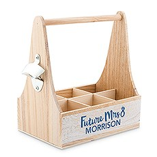 "Personalized Wooden Bottle Caddy with Opener - ""Future Mrs."""