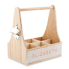 Personalized Wooden Bottle Caddy with Opener - Simple Text
