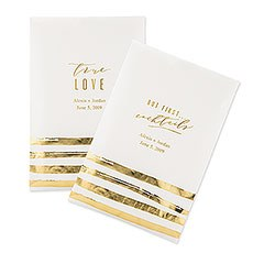 Personalized Paper Wedding Favor Gift Bag - Gold Brush Stroke (25)