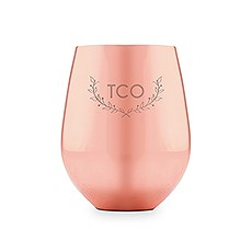 Copper Stemless Wine Glass - Woodland Monogram Etching