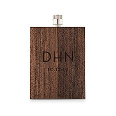 Personalized Rustic Wood Wrapped Stainless Steel Hip Flask – Modern Monogram Print