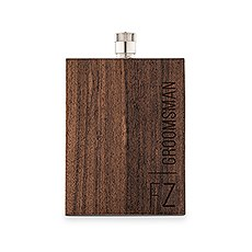 3 Ounce Rustic Wood Flask - Vertical Groomsman Text