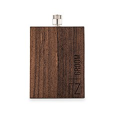 Personalized Rustic Wood Wrapped Stainless Steel Hip Flask - Vertical Groom Monogram Print