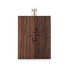 Personalized Rustic Wood Wrapped Stainless Steel Hip Flask – Stacked Monogram Print