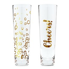 Stemless Toasting Champagne Flute Gift for Wedding Party - Celebration Set of Two