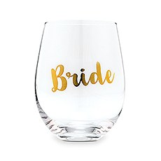 Bride Stemless Wine Glass - Metallic Gold