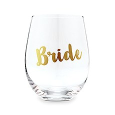 Stemless Toasting Wine Glass Gift for Wedding Party - Bride