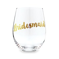 Bridesmaid Stemless Wine Glass - Metallic Gold