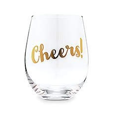 Cheers! Stemless Wine Glass - Metallic Gold