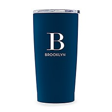 Personalized Stainless Steel Insulated Travel Mug – Modern Serif Monogram Print