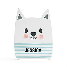 Personalized Wooden Piggy Bank for Kids- White Cat