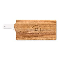 Personalized Wooden Cutting & Serving Board with White Handle - Circle Monogram