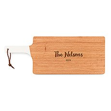 Personalized Wooden Cutting and Serving Board with White Handle - Bold Script