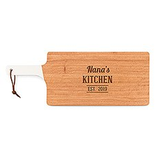 Personalized Wooden Cutting and Serving Board with White Handle – Kitchen Etching