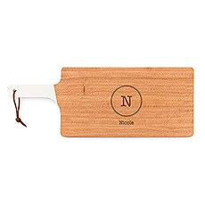 Personalized Wooden Cutting and Serving Board with White Handle - Typewriter Monogram