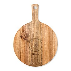 Personalized Wooden Round Cutting & Serving Board with Handle - Circle Monogram
