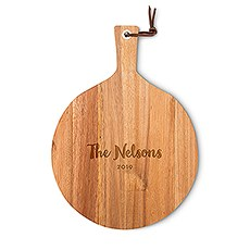 Personalized Round Wooden Cutting and Serving Board with Handle - Bold Script