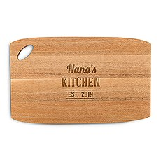 Personalized Wooden Cutting and Serving Board with Oval Handle - Kitchen Etching
